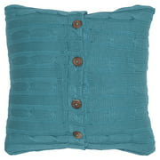 "Rizzy Home Cable Knit Buttoned Back Cotton Decorative Throw Pillow, 18"" x 18"", Turquoise"