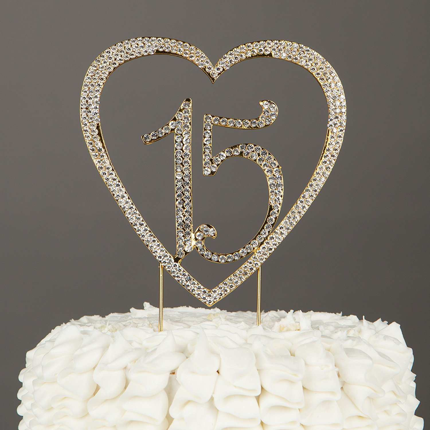 15 Heart Cake Topper, Gold 15th Birthday Party Quinceañera Rhinestone Metal Decoration (Gold)