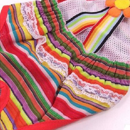 Cute Sweet Pet Dog Physiological Pant Female Puppy Cotton Suspender Sanitary Diaper Underwear Color:Orange Green Red Stripes Size:M - image 3 of 8