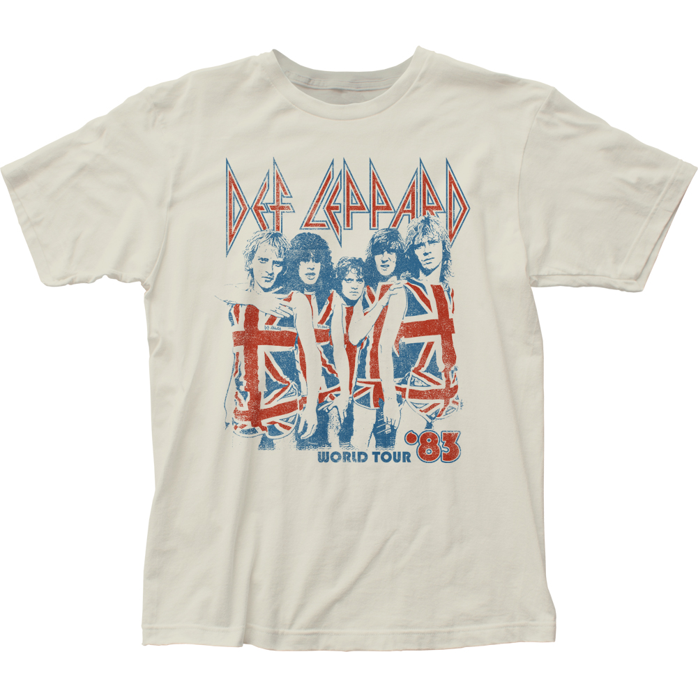 Def Leppard English Rock Band World Tour '83 Adult Fitted Jersey T-Shirt Tee