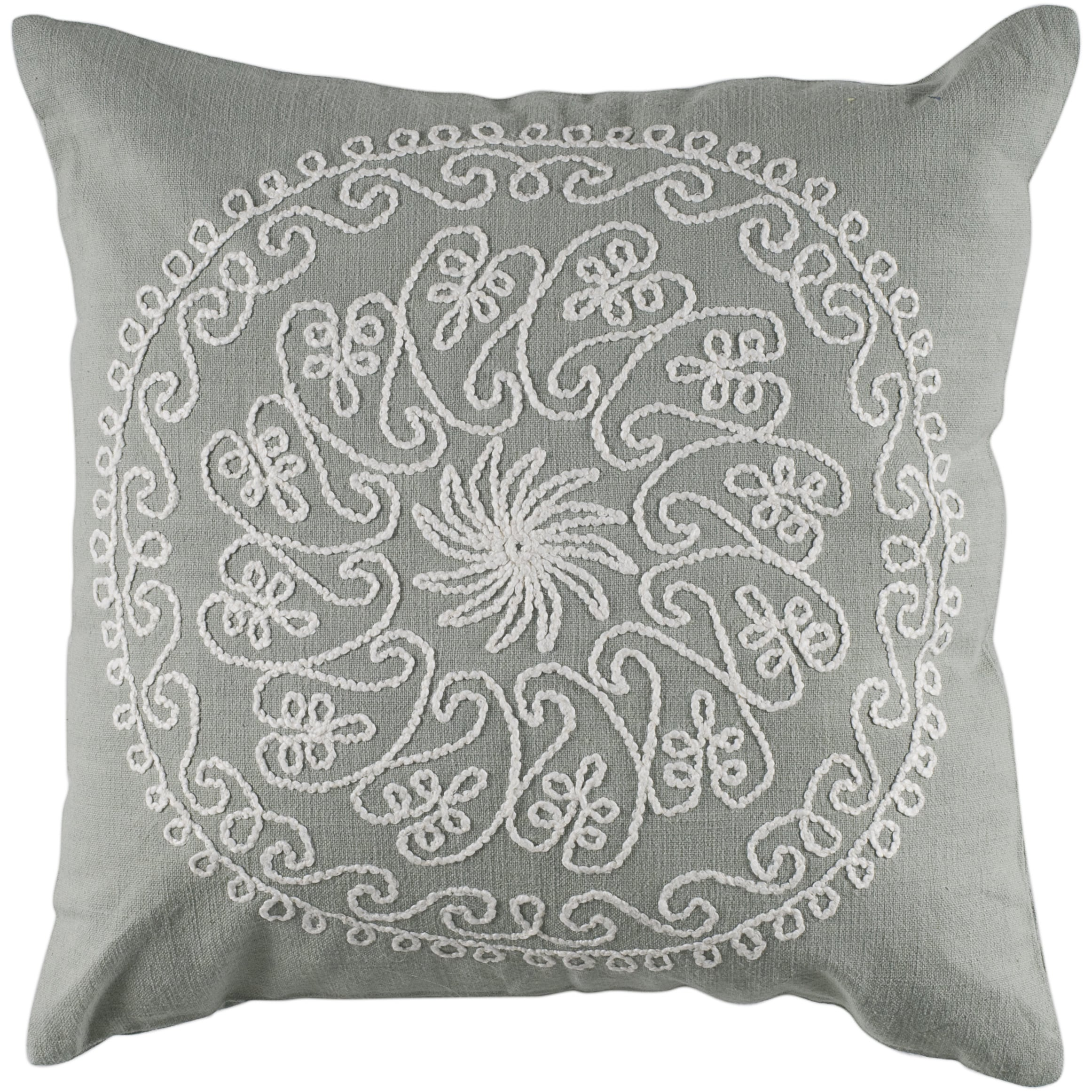 Rizzy Home T-4097 18-Inch by 18-Inch Decorative Pillows Gray/Ivory Set of 2