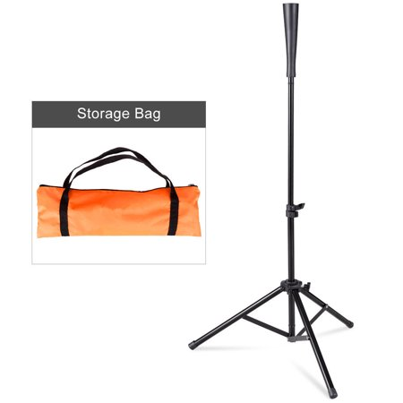 Single Batting Tee - Gymax Baseball Softball Batting Tee Tripod Training Height Adjustable 28'' - 44''