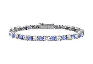 Tanzanite and Diamond Tennis Bracelet with 1.00 CT TGW on 14K White Gold by Love Bright