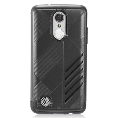 insten Dual Layer [Shock Absorbing] Hybrid Rubber Coated Hard Plastic/Soft Silicone Case Cover For LG Aristo/K8 (2017)/LV3, Black