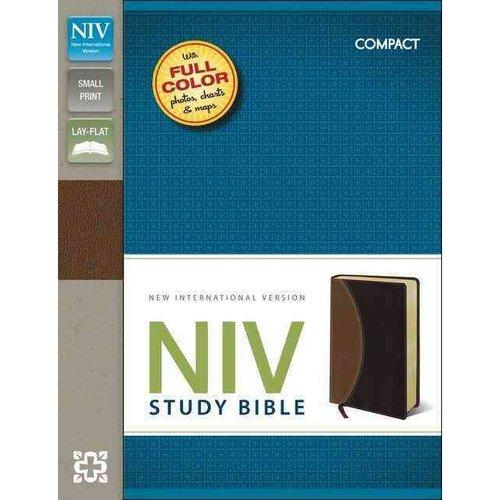 NIV Study Bible: New International Version, Tan / Burgundy, Italian Duo-Tone