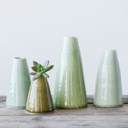 3R Studios Pistachio Terracotta Table Vases - Set of 4