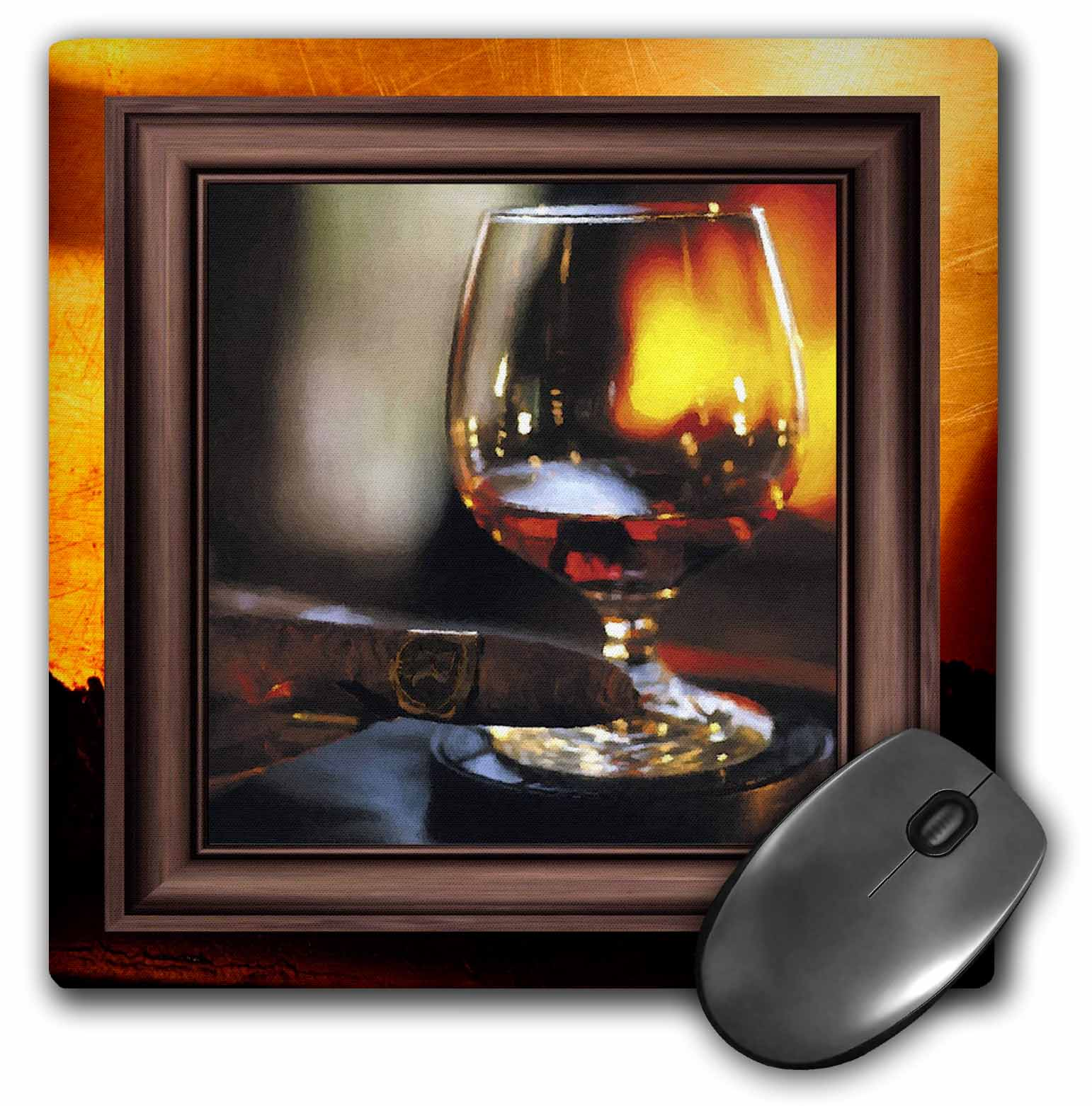 3dRose Cognac and Cuban Cigar, Mouse Pad, 8 by 8 inches