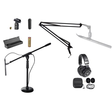 Audio Technica AT897 Shotgun Condenser Microphone Mic+Case+Boom+Stand+Headphones (Shotgun Mic And Stand)