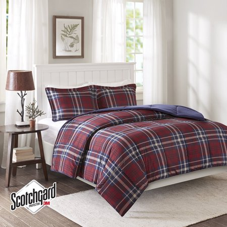 Madison Mint Dollar - Madison Park Essentials Bernard 3M Scotchgard Down Alternative Comforter Mini Set, Twin/ Twin X-Large, Red, Set includes: 1 comforter, 1 standard.., By Premier Comfort
