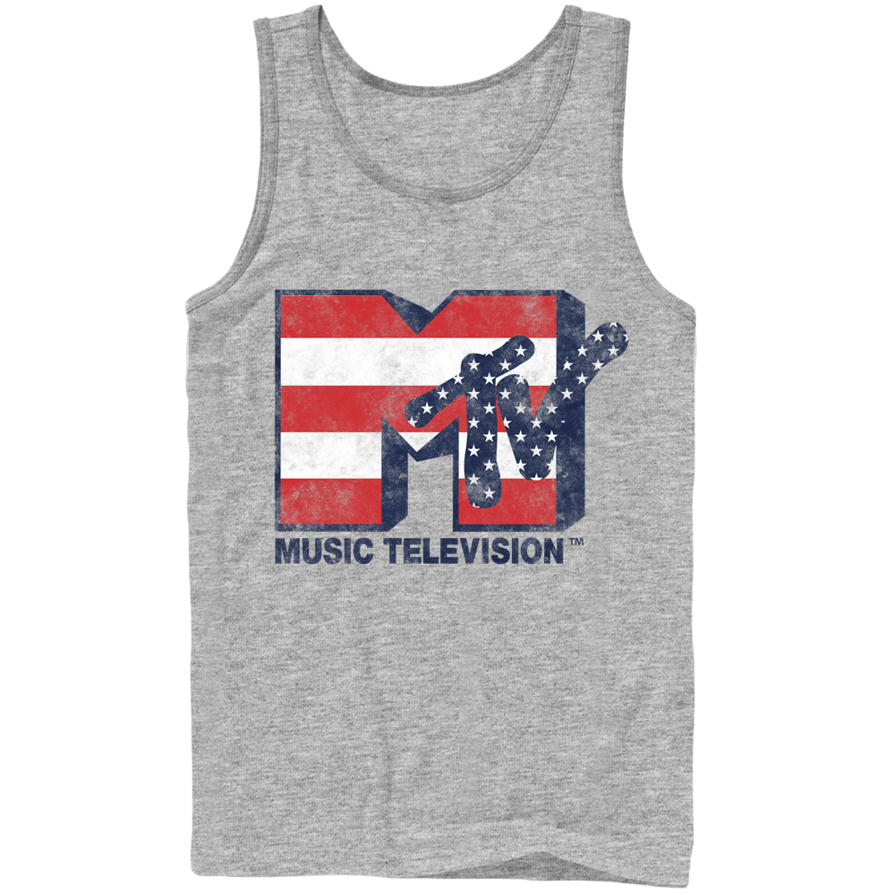 MTV Stars and Stripes Logo Mens Graphic Tank Top
