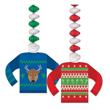 Ugly Christmas Decorations (Club Pack of 24 Ugly Sweater Dangler Christmas Hanging Decorations)