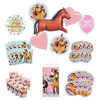 """Mayflower Products Spirit Riding Free Birthday Party Supplies 16 Guest Decoration Kit and 43"""" Brown Horse Balloon Bouquet"""