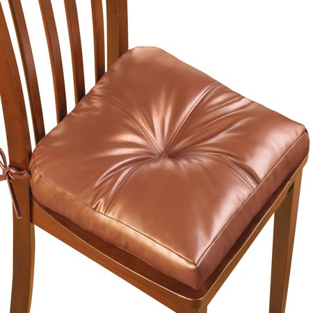 Faux Leather Thick Padded Chair Cushion With Ties For