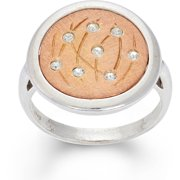 Crystal Accent 14kt Rose Gold-Plated Sterling Silver Matte-Finished Grass Pattern White Polished Frame Round Ring