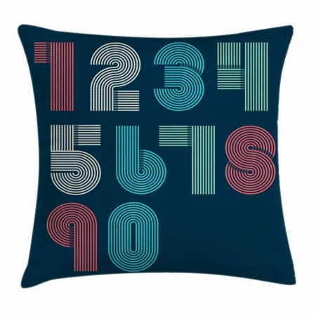Number Throw Pillow Cushion Cover, Retro Style Striped Funky Mathematical Signs Digital Characters Fashion Graphic, Decorative Square Accent Pillow Case, 18 X 18 Inches, Multicolor, by Ambesonne