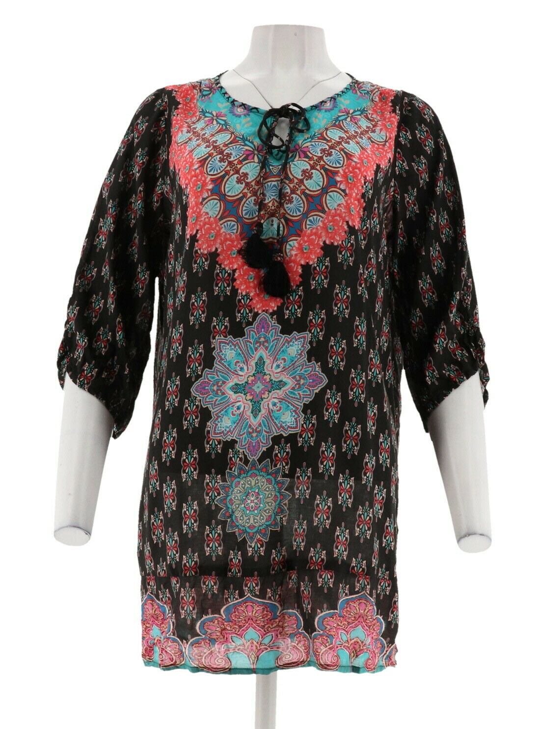 Tolani Collection Printed Woven Tunic Front Tassels A307934