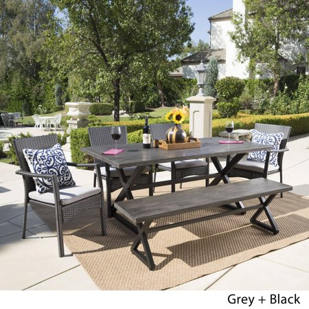 Christopher Knight Home Tritan Outdoor 6-piece Rectangle Aluminum Wicker Dining Set with Cushions by  Grey