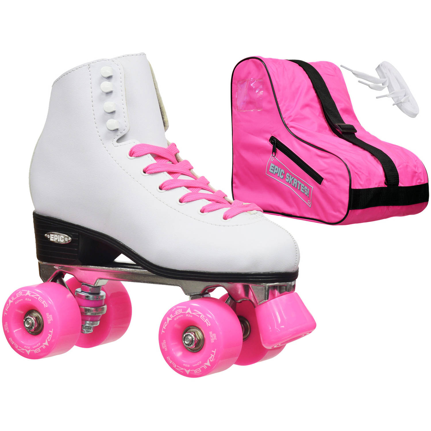 Epic Classic White/Pink Quad Roller Skates Package