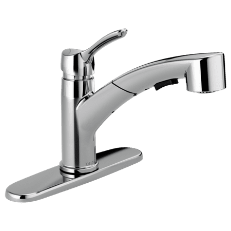 Delta Classic: Single Handle Tract-Pack Pull-Out Kitchen Faucet Delta Classic Single Handlebar
