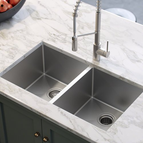 Kraus 33u0027u0027 L x 19u0027u0027 W Double Basin Undermount Kitchen Sink with Drain Assembly - Walmart.com & Kraus 33u0027u0027 L x 19u0027u0027 W Double Basin Undermount Kitchen Sink with ...