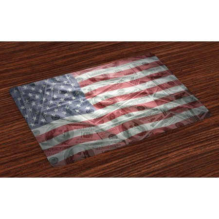 American Flag Placemats Set of 4 American Dollar on Flag Money Currency Exchange Value Global Finance Idol, Washable Fabric Place Mats for Dining Room Kitchen Table Decor,Multicolor, by