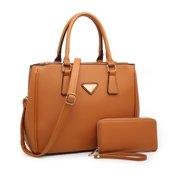 POPPY Women Top Handle Satchel Handbag with Matching Wallet Crossbody Shoulder Bag 2 In 1,Camel