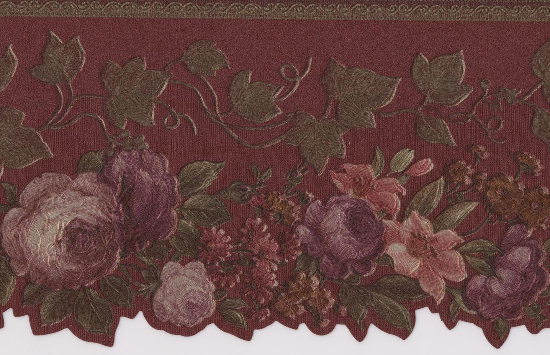 Pink Red Purple Blooming Roses Vintage Floral Wallpaper Border