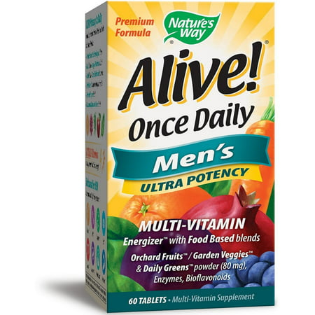 - Nature's Way Alive! Once Daily Men's Ultra Potency Multivitamin & Whole Food Energizer Tablets 60 ea (Pack of 2)