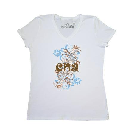 Satin Flowered (Nursing Occupation CNA Flowered Gift Women's V-Neck T-Shirt )
