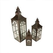 """Set of 3 Brown Brush Asian Inspired Pillar Candle Holder Lanterns 26"""""""