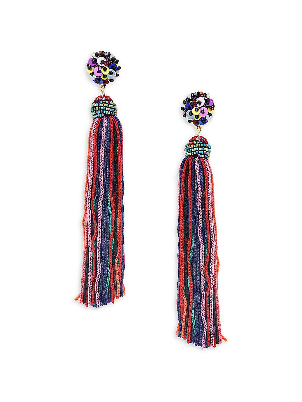 Sequined Linear Tassel Earrings