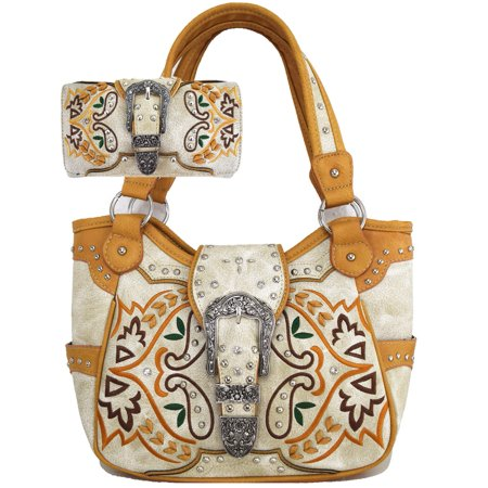 Concealed Carry Bohemian Women Handbag  and Wallet Combo Women Fashion Ivory