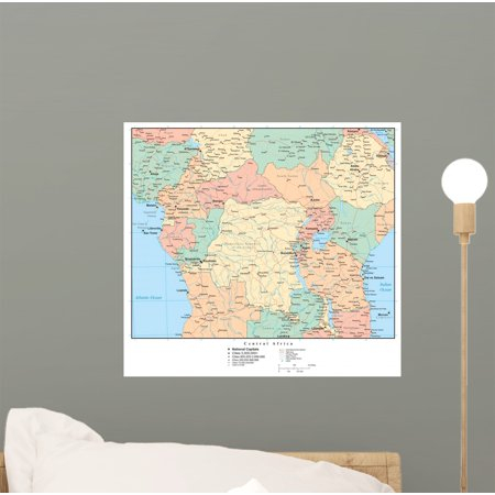 Map Mural - Political Map Central Africa Wall Mural Decal Sticker, Wallmonkeys Peel & Stick Vinyl Graphic (12 in W x 11 in H)
