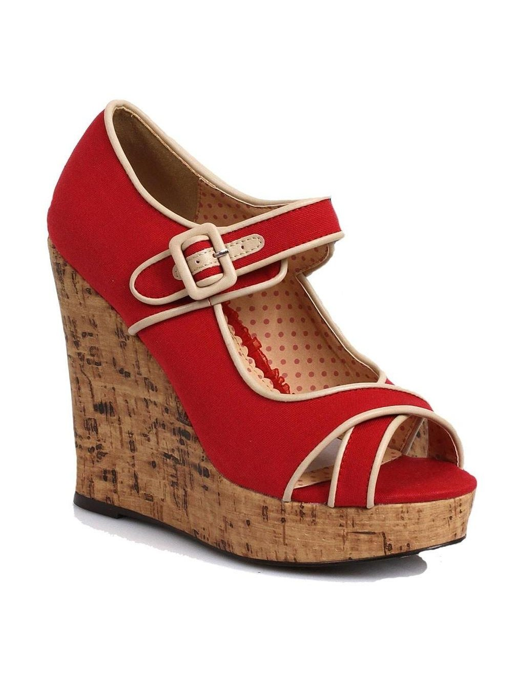 Bettie Page Bp445-Josie Women Polka Dot Sandal Platform Sling Back Wedge Sandal Dot 38f1c3