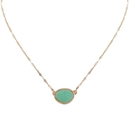 Simulated Druzy Delicate Necklace - Gold-Tone Dainty Chain-Link Simple Pendant - Oval Created Geode Stone Charm by Humble Chic NY, Aqua, Simulated Aquamarine, Mint, Simulated Jade, Gold-Tone Olive Jade Necklace