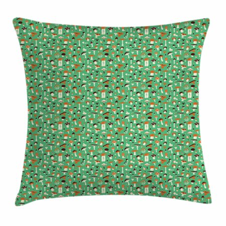 Mushroom Throw Pillow Cushion Cover, Fungi Medley Amanita Orange Cap Boletus and Russule, Decorative Square Accent Pillow Case, 20 X 20 Inches, Seal Brown Dark Orange and Sea Green, by Ambesonne