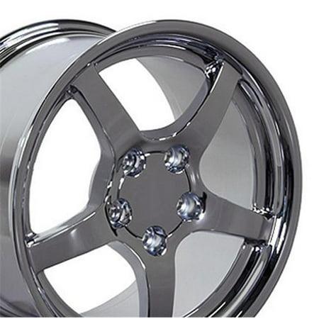 18 x 9.5 in. Deep Dish Wheel, Chrome for Chevrolet Corvette C5