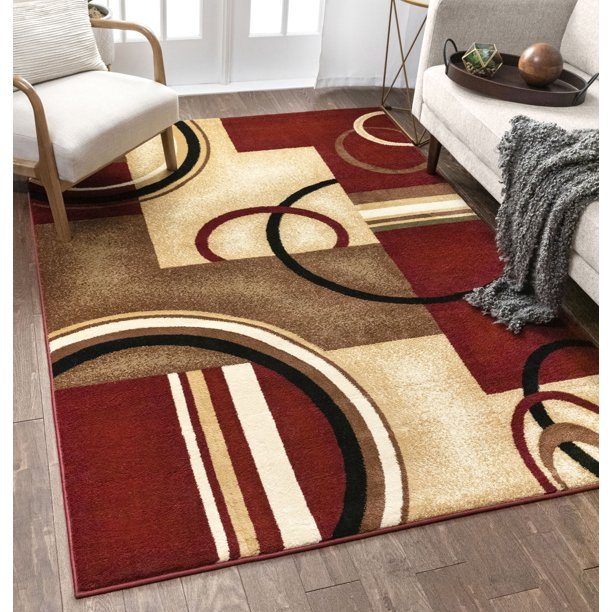 Well Woven Barclay Arcs Shapes Modern Abstract Geometric Red 9 3 X 12 6 Area Rug Walmart Com Walmart Com
