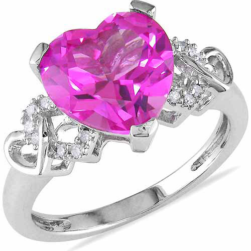 4-1/5 Carat T.G.W. Created Pink Sapphire and Diamond-Accent Sterling Silver Heart Ring
