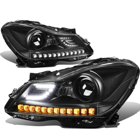 - For 12-15 Mercedes-Benz C-Class W204 3D LED Halo Projector Headlight Black Housing Headlamp 13 14 2013 2014 Left+Right