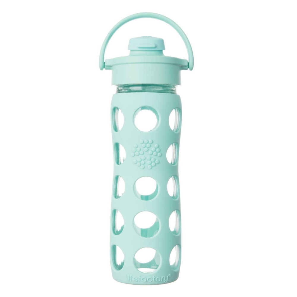 Glass Bottle with Straw Cap and Silicone Sleeve
