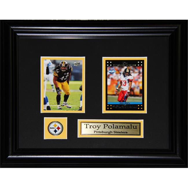 Midway Memorabilia Troy Polamalu Pittsburgh Steelers 2 Card Frame