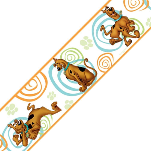 York Wallcoverings 12440785 Scooby Doo Swirls Self Stick Accent Wall Border Roll