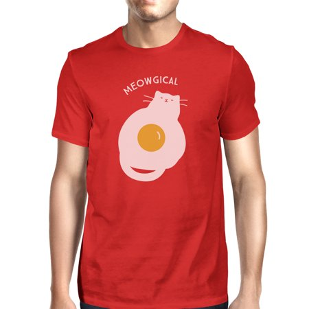 Meowgical Cat And Fried Egg Mens Red Halloween Cat Lovers Tshirt - Frises Halloween