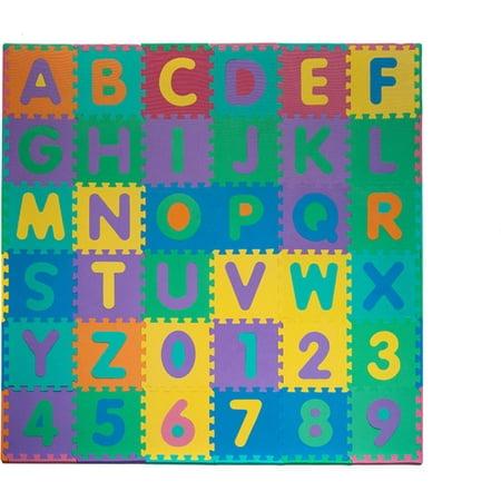 trademark 96 piece foam floor alphabet and number puzzle mat for kids walmartcom