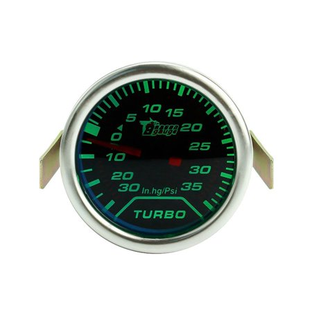 52mm 12V LED Green Light Turbo Press Gauge Meter Turbo Boost Gauge Vacuum Press Meter Turbocharged Pointer Table