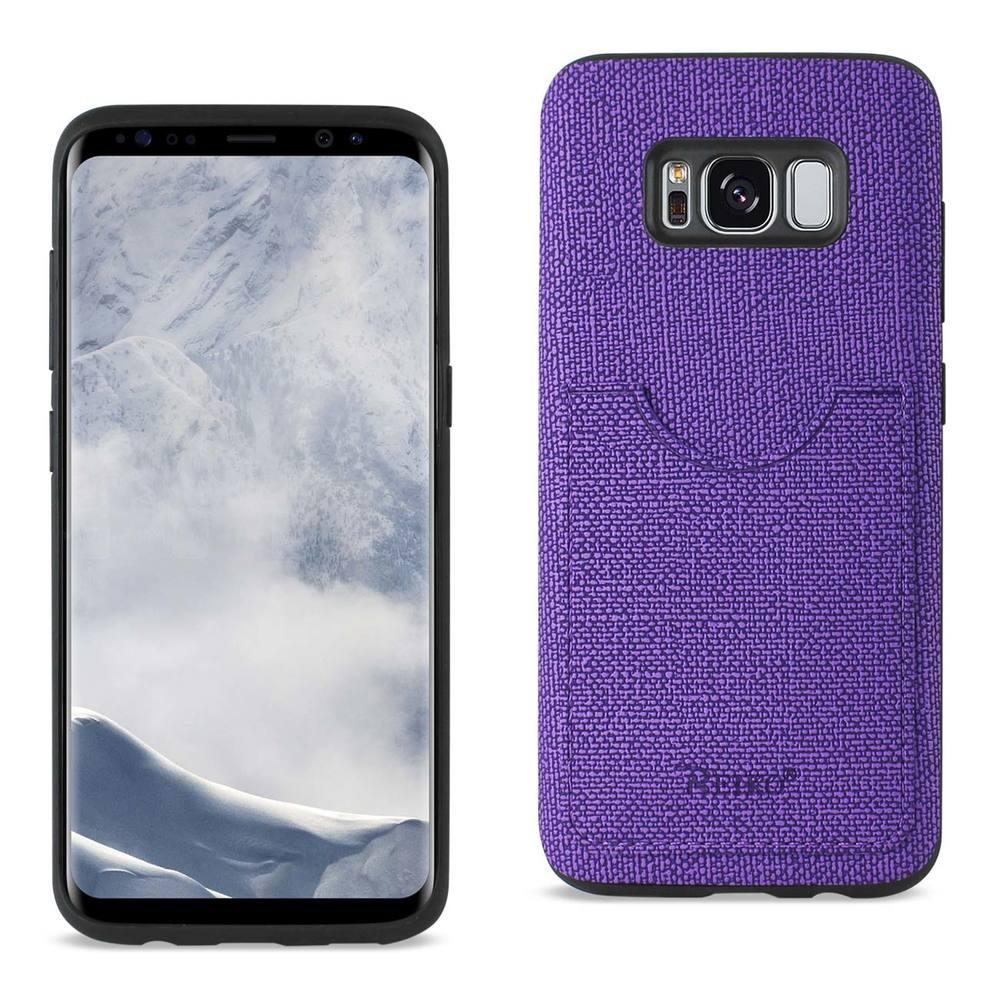 Reiko REIKO SAMSUNG GALAXY S8/ SM ANTI-SLIP TEXTURE PROTECTOR COVER WITH CARD SLOT IN PURPLE