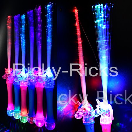 (12 Pack) Unicorn Fiber Optic Wands Light Up Flashing Magic Princess Glow Party LED Sticks - Led Glowstick