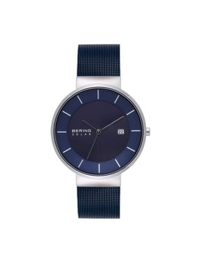 BERING Mens Solar Watch With Silver Case & Blue Mesh Strap