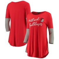 Portland Trail Blazers Women's Striking in Stripes 3/4 Sleeve Tunic T-Shirt - Red